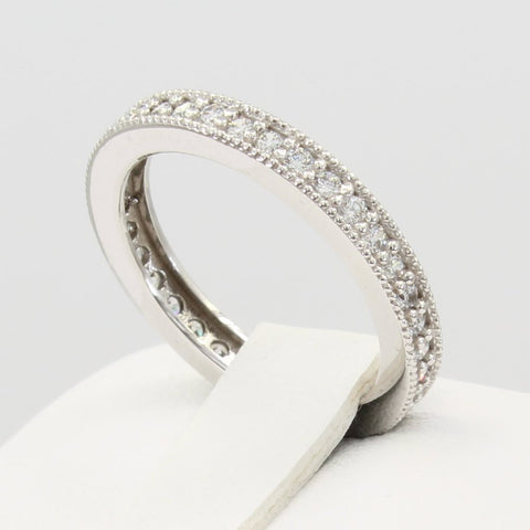0.75 Ct 14K Real White Gold Round Pave Set Endless Eternity Wedding Anniversary Bridal Ring Band