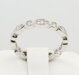 1.50 Ct 14K Real White Gold Round Cut Pave Set Fancy Endless Eternity Wedding Anniversary Bridal Ring Band