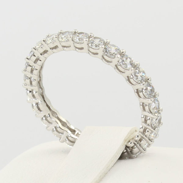 1.50 Ct 14K Real White Gold Round Cut Eternity Endless Wedding Anniversary Ring Band