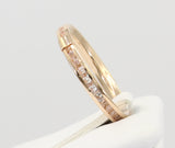 14K Real Rose Pink Gold Round Cut Channel Set Eternity Endless Wedding Anniversary Ring Band Light Weight Stackable