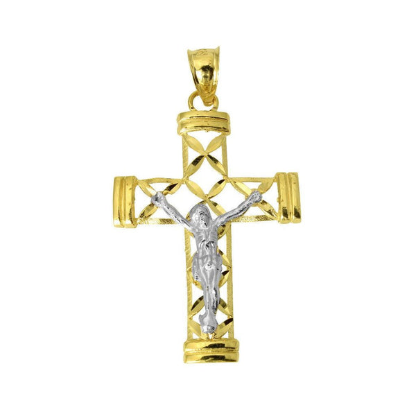 14K Real 2 Tone Yellow White Gold Religious Jesus Crucifix Cross Diamond Cut Charm Pendant