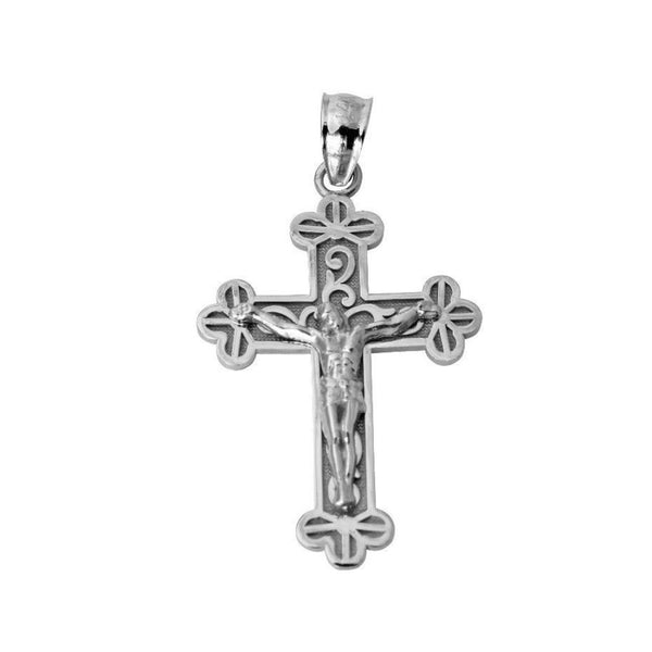 14K Real White Gold Jesus Cross Religious Crucifix Small Charm Pendant