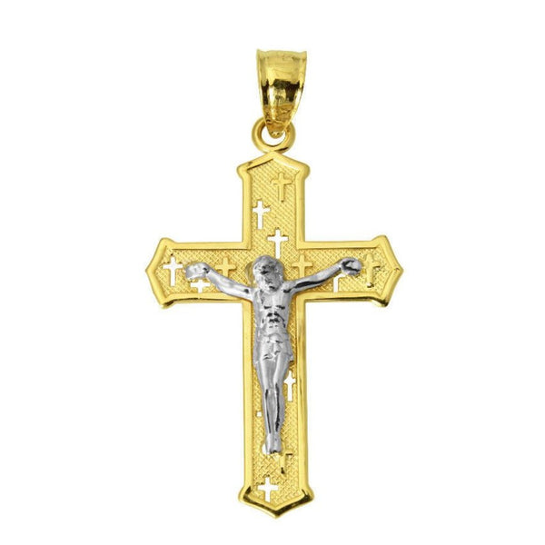 14K Real 2 Tone Yellow White Gold Small Religious Jesus Cross Crucifix Charm Pendant