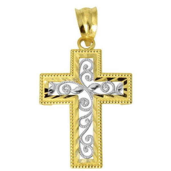 14K Real Tow Tone Yellow White Gold Religious Cross Diamond Cut Small Charm Pendant