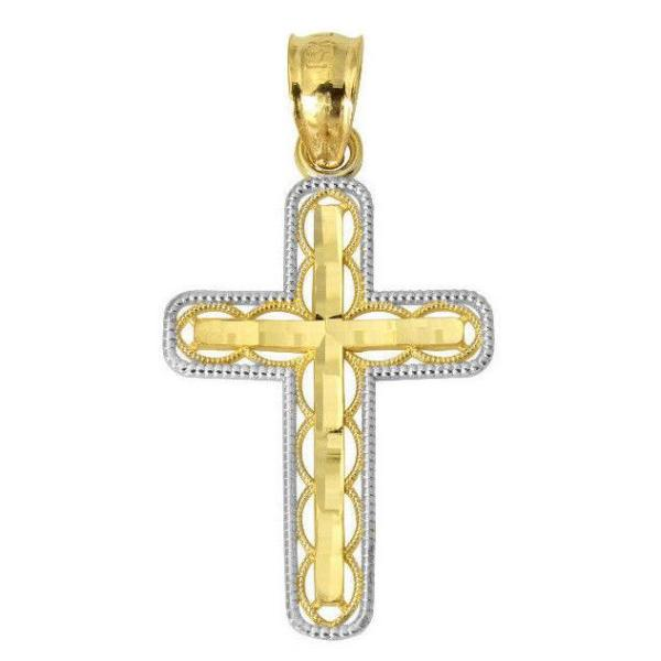 14K Real 2 Tone Yellow White Gold Religious Cross Small Charm Pendant