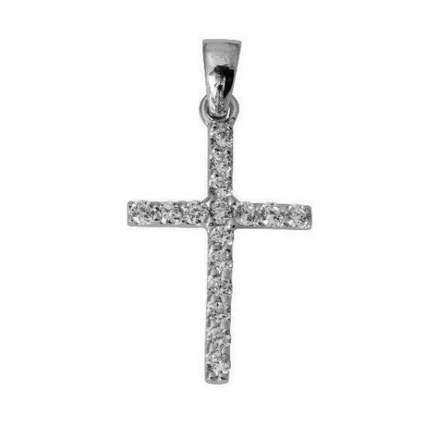 14K Real White Gold Small Fancy One Row Line Cross Charm Pendant Cubic Zirconia