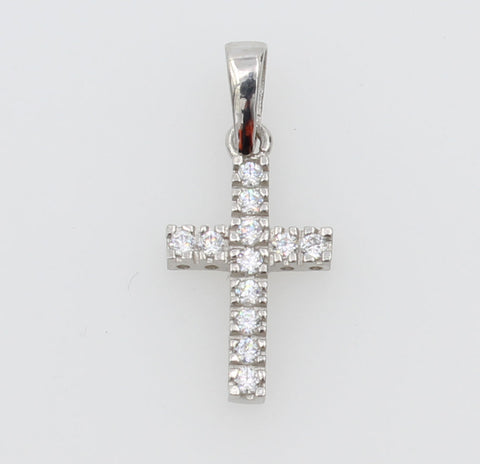 14K Real White Gold Very Small One Row Line Cross Charm Pendant Cubic Zirconia for Baby & Children