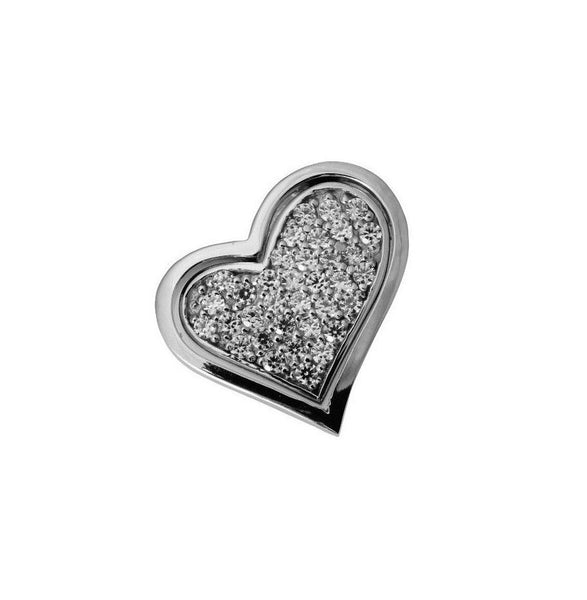 14K Real White Gold Small Fancy Heart Shape Love Slider Pendant Cubic Zirconia