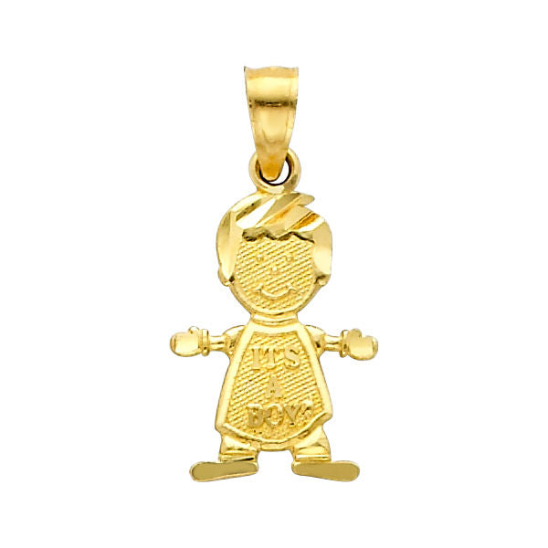 "14K Real Yellow Gold Small ""It's A Boy"" Diamond Cut Charm Pendant for Baby & Children"