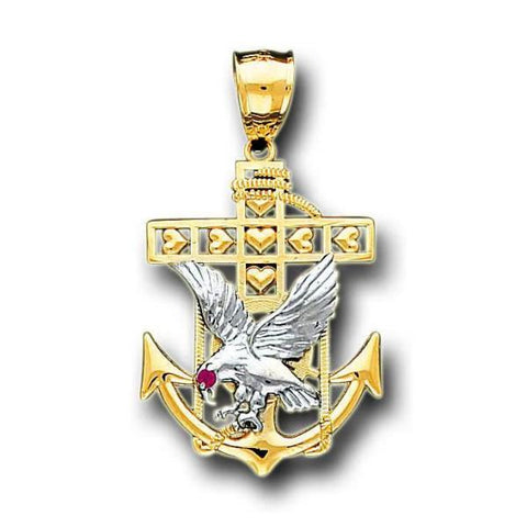 14K Real 2 Tone Yellow White Gold Eagle Anchor Cubic Zirconia Charm Pendant