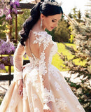 Exquisite Long Sleeved Cathedral Train Bridal Gown