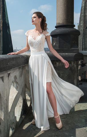 Removable Skirt Lace & Chiffon Wedding Dress
