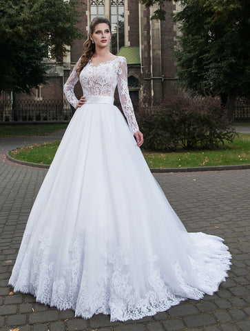 Lace Edge Long Sleeved Bridal Gown