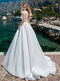 Beads & Satin Short Sleeved Bridal Gown