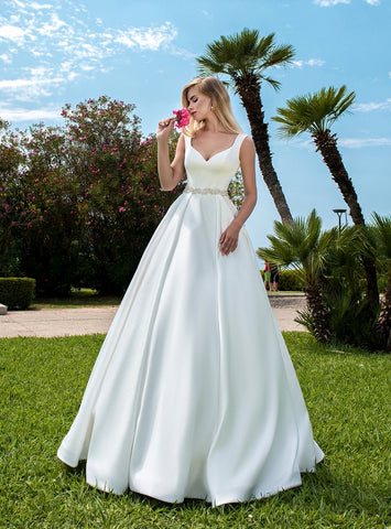 Button Train Satin Bridal Gown