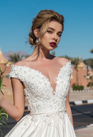 Off Shoulder Deep V Ball Gown