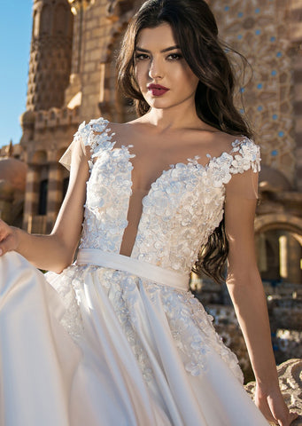 Deep V Illusion Neckline Bridal Gown