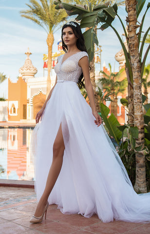 Multi-Layered Illusion Back Wedding Dress