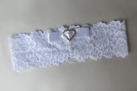 All White Ribbon Bow Garter
