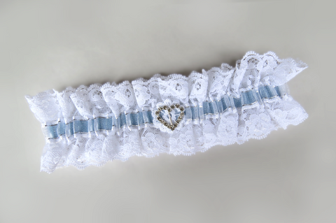 Blue Ribbon With Heart Bridal Garter