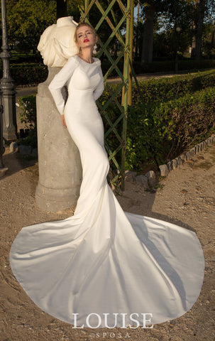 Modern Long Sleeved Mermaid Gown
