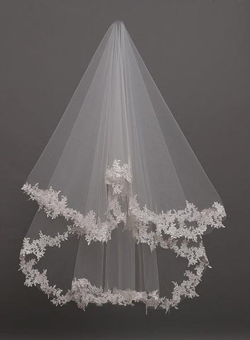 Mid Length Wedding Veil With Lace Applique Border
