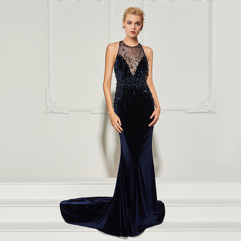 Deep Navy Blue Velvet Feel Gown