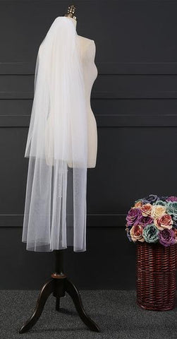 2-Layer Cut Edge Mid-Length Bridal Veil