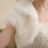 Faux Fur Winter Short Sleeve Bridal Jacket