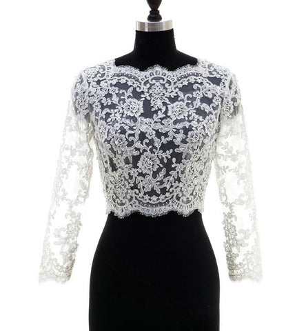 Ivory Lace Long Sleeve Bridal Jacket