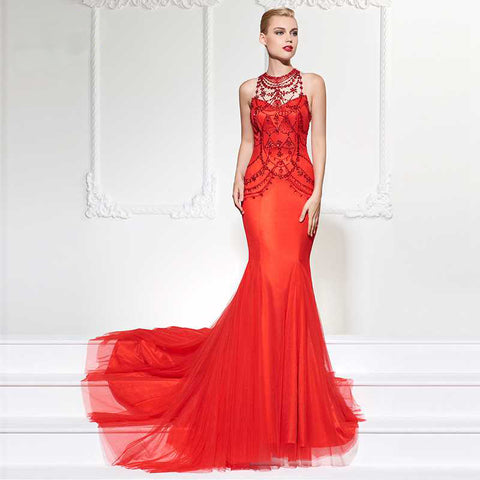 Crystal Mermaid Evening Dress