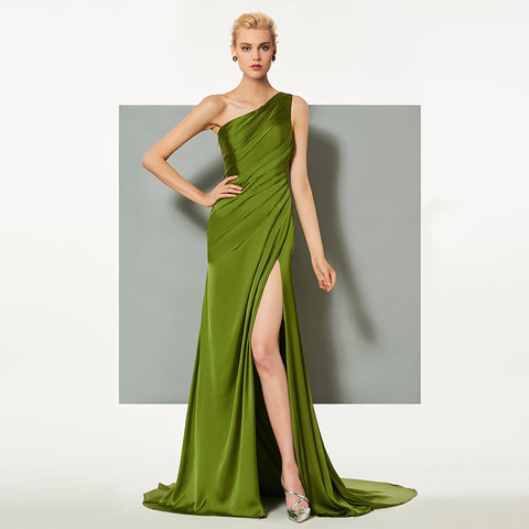 Acid Green Elegant Evening Dress