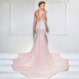 Pink Lace Mermaid Evening Dress