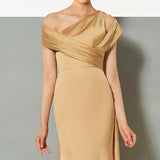 Flowy Drape Sleeve Evening Dress