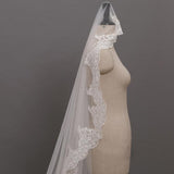 Beautiful Cathedral Length Wedding Veil With Lace Applique Border