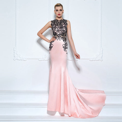 Light Pink & Black Lace Evening Dress