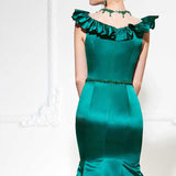 Cap Sleeves Ruffled Mermaid Evening Gown