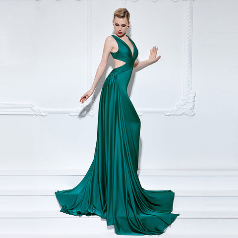 Emerald Green Sexy V-Neck Long Evening Dress