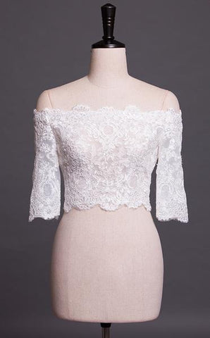 Off-Shoulder Three-Quarter Sleeved Bridal Bolero