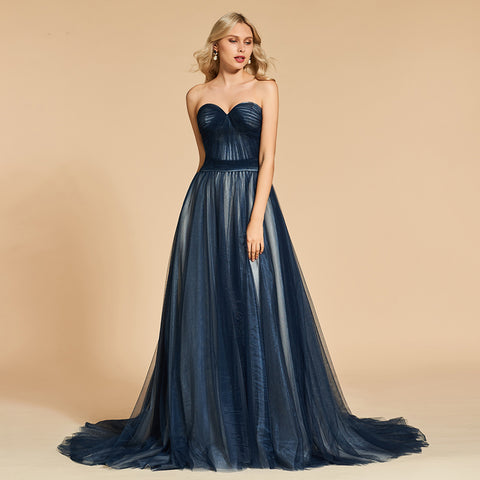 Midnight Blue Tulle Evening Gown