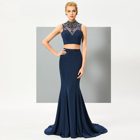 Navy Blue Two Piece Evening Dress