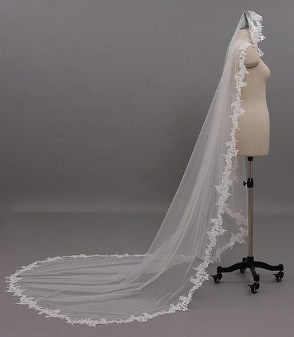 Cathedral Length Wedding Veil With Lace Applique Border