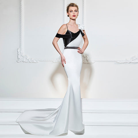 Black & White Long Evening Dress