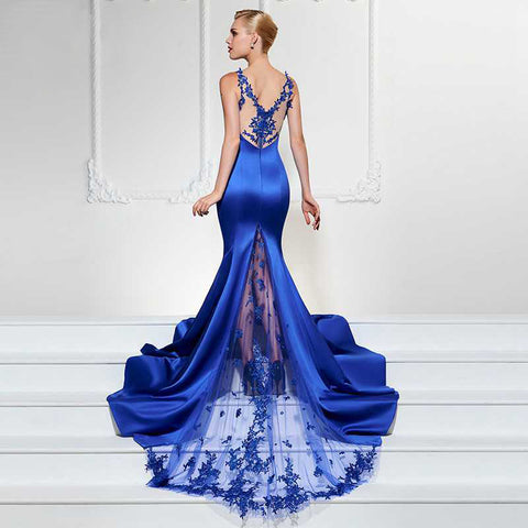 Lace & Satin V-Neck Trumpet Gown