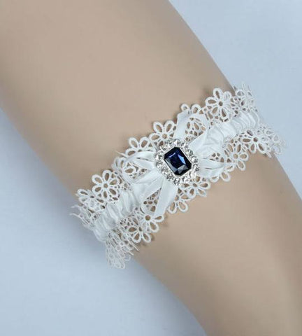 Blue Stone Lace Bridal Garter