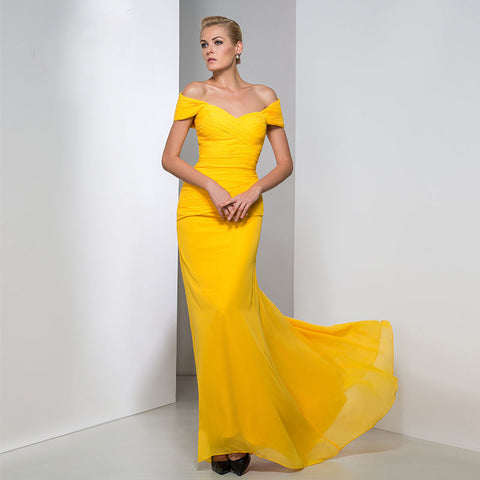 Off-The-Shoulder Trumpet Evening Dress