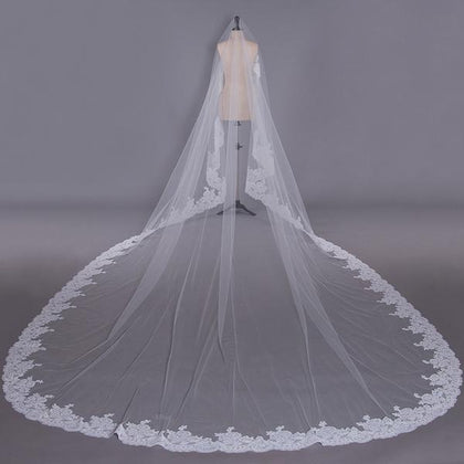 Super Long Cathedral Wedding Veils With Lace Edging - ELAN BRIDAL