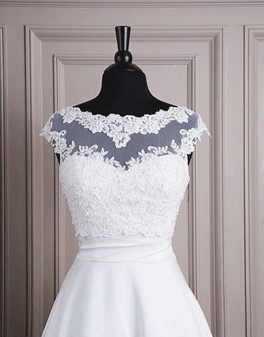 Modest Cap Sleeved Boat-neck Lace Bridal Bolero.