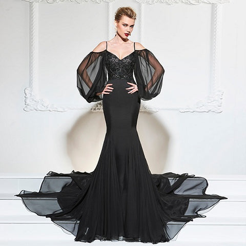 Long Sleeved Trumpet Evening Gown