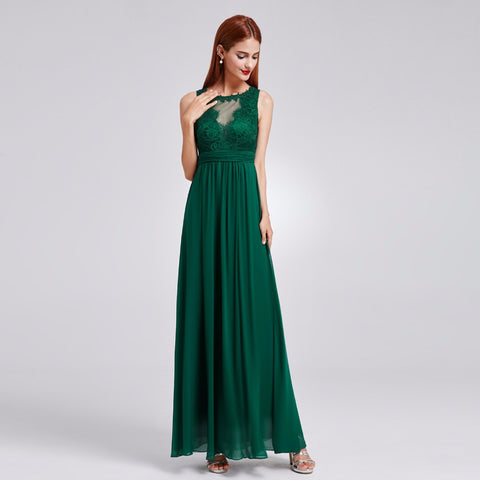 Illusion Neck Evening Gown